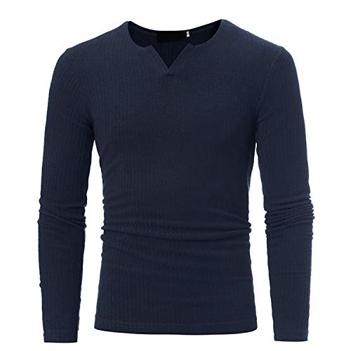 Men's Slim Sweaters Casual V Neck Sweaters for Men's Athleisure Tops Blouse,Navy,XXXL