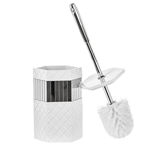 Creative Scents Bathroom Toilet Brush Set - Quilted Mirror Collection, Good Grip Toilet Bowl Cleaner Brush and Holder, Decorative Design Compact Bowl Scrubber (White & Mirror)