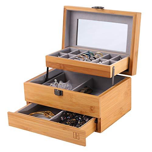 Bamboo Jewelry Box Organizer for women Watch Storage 3 Layers Jewelry Organizer Mirrored Storage Display Case Gift for Mom Girlfriend