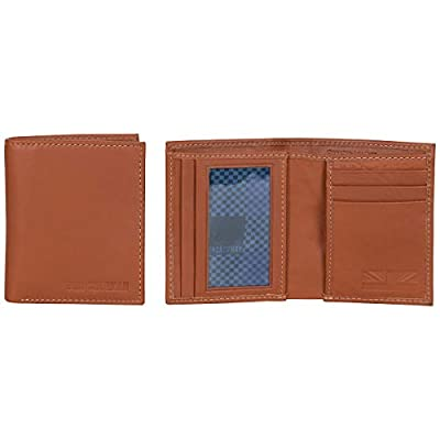 Ben Sherman Men's Slimfold Full-Grain Anti-Theft RFID Security Wallet with ID Window, Cognac Leather, Slim Square Passcase