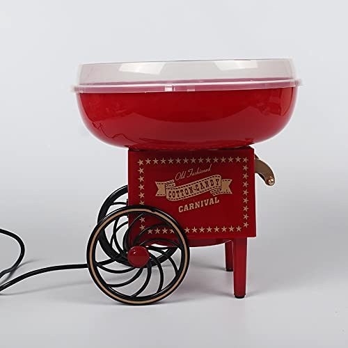 YYZS Fabricante de Hilo de Caramelo Eléctrico, Máquina de Algodón de Azúcar, Carrito de Máquina Retro Cocina Estilo Carnaval Gadgetry Profesional,Red