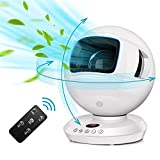 Bladeless Oscillating Fan - Quiet Cooling Table Fan with 3D Multi-Directional Oscillation & Remote Control, Gentle Breeze, 8 Wind Speeds, 12H Timer, Air Circulator Fan for Office Home Dorm Baby Use, White