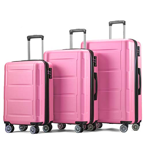 Zebery Suitcase Set, Trolley Carry On Hand Cabin Luggage Hard Shell Travel Bag Lightweight Suitcase with 4 Spinner Wheels