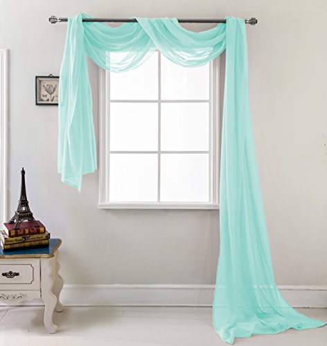 RT Designers Collection Celine Sheer 54 x 216 in. Sheer Curtain Scarf, Aqua