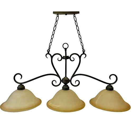 "3-Light Bronze Rustic Billiard Pendant Light   Old Bronze Finish, 13"" Amber Glass Shades"