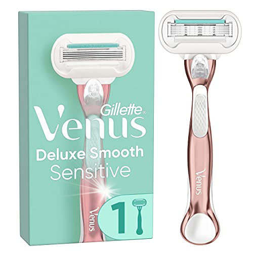 Gillette Venus Deluxe Smooth Sensitive Rasierer Damen, Damenrasierer + 1 Rasierklinge mit 5-fach Klinge, RoseGold