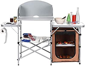 Goplus Folding Grill Table with Storage, Aluminum Outdoor Camping Kitchen Table with 26'' Tabletop, Detachable Windscreen and Carry Bag, Portable Camp Cook Station for BBQ Picnic Backyard
