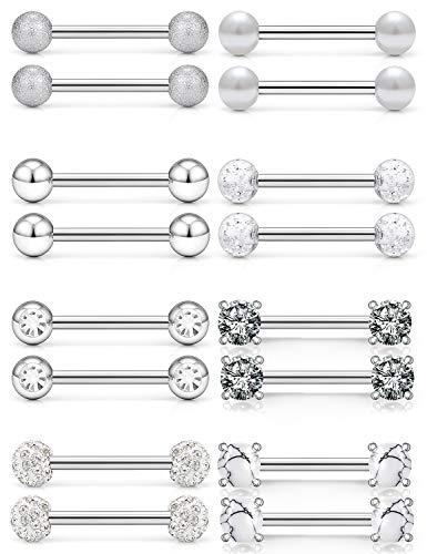 SCERRING 14G Nipple Rings Stainless Steel Nipplerings Tongue Straight Barbell Rings Body Piercing Jewelry for Women Men 9/16Inch 8 Pairs Silver