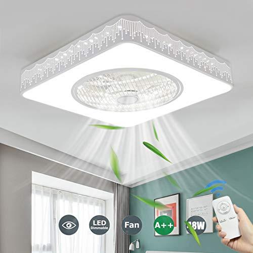 SFOXI Cuadrado LED Luz del Ventilador de Techo Lámpara de Techo Mando a Distancia Invisible 3 Velocidades Dormitorio, Silenciosa para Dormitorio, Sala de Estar Pasillo 48W Ø52cm