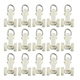 uxcell Curtain Track Rollers Plastic Twin Wheeled Carriers Drapery Rail Sliding Glider for Windows Shower Curtain Tracks 10mm Dia 50 Pcs