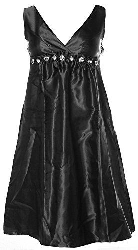 Melrose Damen Satinkleid Kleid Abendkleid Strass Glitzer 32 schwarz