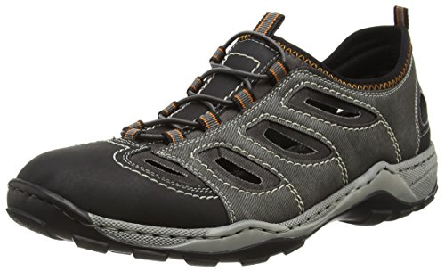 Rieker Herren 08065 Sneaker, Grau (Schwarz/rauch/rauch/02), 46 EU
