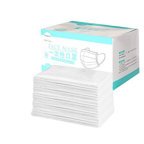 50 Stücke Einweg Atemfilter, Individuelles Paket Mit Box, Zuverlässig Drei Schichten Filter, Pendeln, Schule, 7 Farben (Weiß)