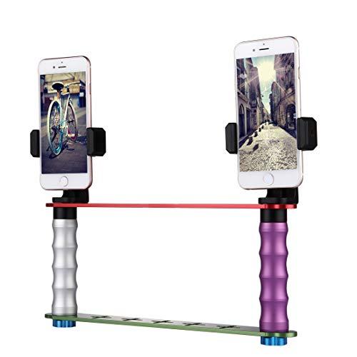 Luoshan Smartphone Live Broadcast Bracket Kits de Montaje for Selfies de Mano Doble con 2 Clips de teléfono, for iPhone, Galaxy, Huawei, Xiaomi, HTC, Sony, Google y Otros teléfonos Inteligentes