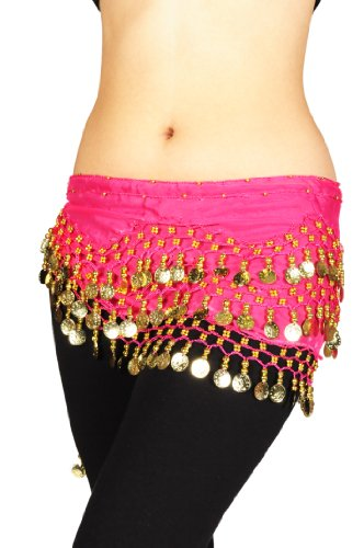 Plus Size Belly Dancing Hip Scarf - Fuchsia/Gold