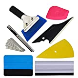 Fine Auto Vinyl Wrap Tool Kit Include Rubber Contour Squeegee,Plastic Razor Scraper, Film Cutter and Blades, Scratch-Proof Window Tint Application Tools (A)