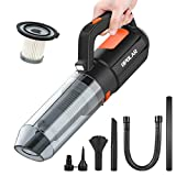 Compressed Air Duster, VEARMOAD Electric Air Blower for Computer, Portable Vacuum Cleaner with Blow Suction Dual Functions & Rechargeable Battery & Washable Filter & LED Light for Car, Home Cleaning