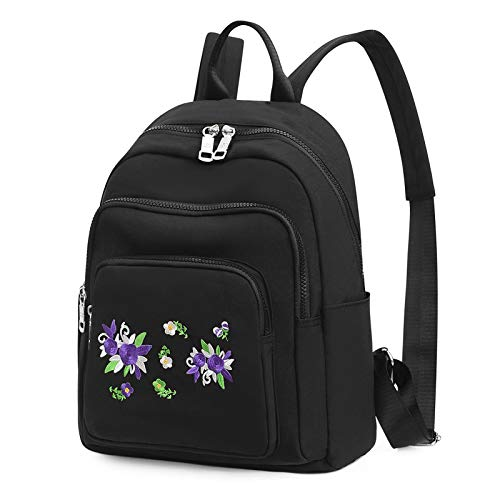 PMNING Nylon Women Backpack with Embroidery Flower Casual Lightweight Strong Fashion Backpacks Rucksack Daypack for Women Girl