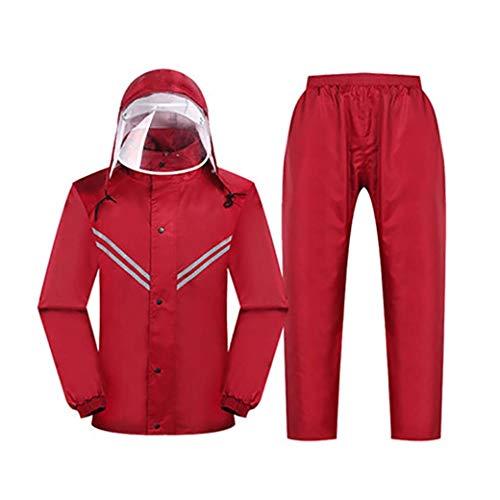 DongYuYuXuXi Wandern Reflective Raincoat Moto-Mantel-Frauen Blue Raincoat Männer Regen-Bekleidung Damenjacke Capa Lluvia Vetements Regen Jacken (Color : Red, Size : XXL)