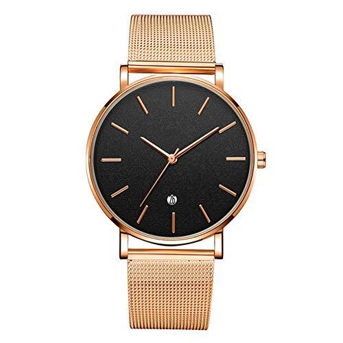 GJHBFUK Reloj Moda Redonda De Cuarzo Reloj De Pulsera (cinturón De Oro Rosa Caja De Oro Rosa Espejo Negro Rosa Oro Gold Aguja)