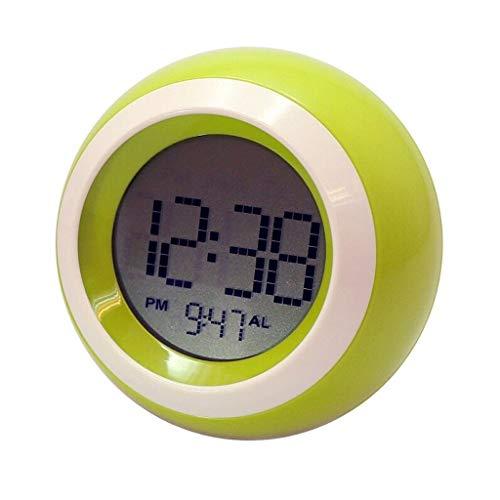 ZXJTX Alarm Clock Creative 7 Color Round Alarm Clock Snooze Silent Mini LED Clock Children Bedroom Home Small Alarm Clock Electronic Clock Digital Alarm Clock (Color : Yellow)