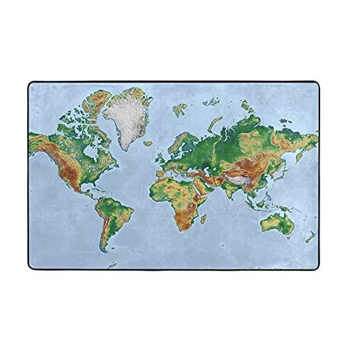 Unique World Map Alfombra de sala de estar, lujosa alfombra de área grande, antideslizante, resistente a las manchas para la decoración del hogar