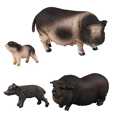 FLORMOON Realistische Tierfiguren 4 Stück Schwein Tiere Action Model Enthält Bauch Schwein Schwarzes Schwein Vietnam Sow Mini Flower Pig Pädagogisches Lernspielzeug-Geburtstags-Geschenk-Set für Kinder