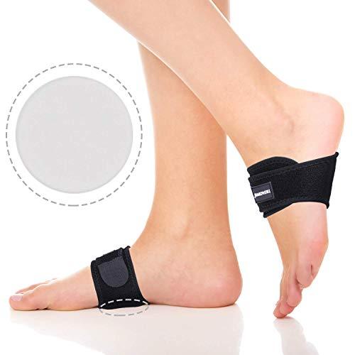 Thx4COPPER Soporte de arco ajustable con gel acolchado – Cojín de alivio para el dolor de fascitis plantar, pies planos, arcos caídos, espolones calcáneos, vendaje para arco del pie, 1 par