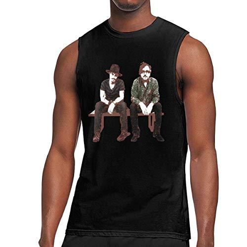iqingzhongbai Tim Burton und Johnny Depp für Herren, ärmellos, T-Shirt Muscle Tank schwarz, Trägerloser Large