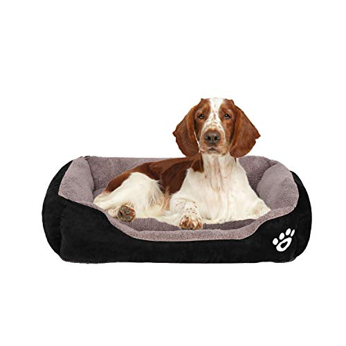 FRISTONE Dog Bed Washable Pet Baskets Warm Orthopedic Kennel Soft Cat Sofa Bed for Medium Large Dog Puppy Fleece Thick Blanket Cushion Black 32x24in