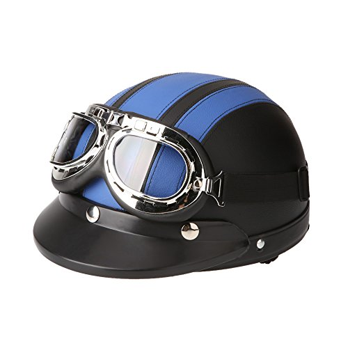 KKmoon Motorrad Roller Open Face halbes Leder-Helm Winter Winddichter Helm mit Visier UVschutzbrille Retro Vintage Style 54-60cm (Blau)