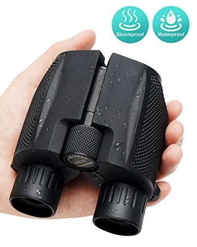 Binoculares GIARIDE Binoculares Compactos 10x25 con Visión Nocturna Débil y Liviana, Ocular Grande De Alta Potencia Binocular Resistente Al Agua Fácil Enfoque para Caza Al Aire Libre