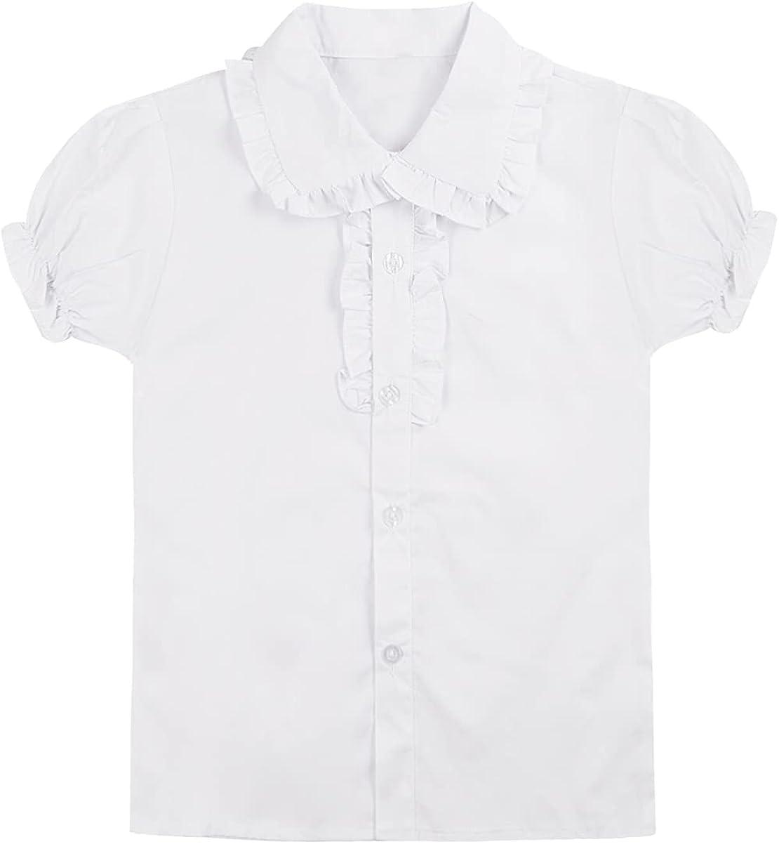 JEEYJOO Kids Girls Short Puff Sleeve Button Down School Uniform Blouse Lapel Collar Dress Shirt