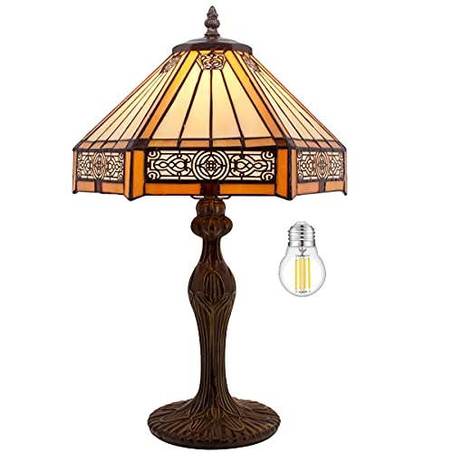 Tiffany Lamp Bedside Table Lamp Yellow Hexagon Stained Glass Mission Style Reading Desk Light 18' Tall Lover Livingroom Bedroom Library Banker Hotel Luxurious Victorian WERFACTORY LED Bulb Included