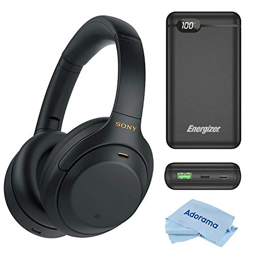 Sony WH-1000XM4 Wireless Bluetooth Noise-Canceling Over-The-Ear Headphones, Black Bundle with Energizer 20000mAh LCD Display Portable Power Bank, Cloth
