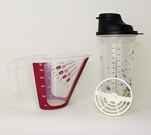 TUPPERWARE Shake-IT Shaker 600ml Schwarz + Messbecher Beere 1L CombiPlus Messgenau + Mini Trichter Lila