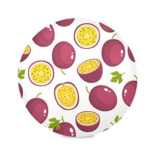 AQQA Lot de 4 Sets de Table Ronds de Couleur délicieux Mignon Fruit de la Passion napperon réutilisable Bureau Tapis de café 15,4 Pouces Facile à Nettoyer pour la Cuisine Table à Manger