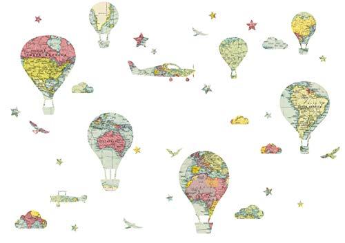 Anna Wand Wandsticker Hello World Mehrfarbig – Wandtattoo für Kinderzimmer/Babyzimmer mit Heissluftballons/Wanddeko Baby/Kinder/Größe A3 Bogen