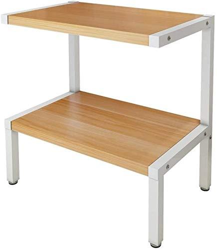 Estanteria Impresora Stands Pantalla de impresora para el hogar con estantes de almacenamiento de estructura de madera de acero de 2 niveles, organizador de escritorio multiuso para máquina de fax, es