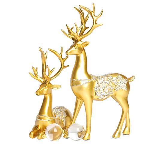 HEALLILY Christmas Reindeer Resin Sculpture Couple Deer Figurine Statue Home Office Decor 2pcs Champagne Gold