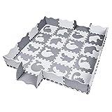 qqpp Alfombra Puzzle para Niños Bebe Infantil - Suelo de Goma EVA Suave. 16 Piezas (30*30*1cm), 20 Piezas de Valla, Animales, Blanco & Gris. QQP-52(AL) b16F20