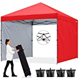 ABCCANOPY Outdoor Easy Pop up Canopy Tent with 2 Sun Wall 8x8 Central Lock-Series, Red