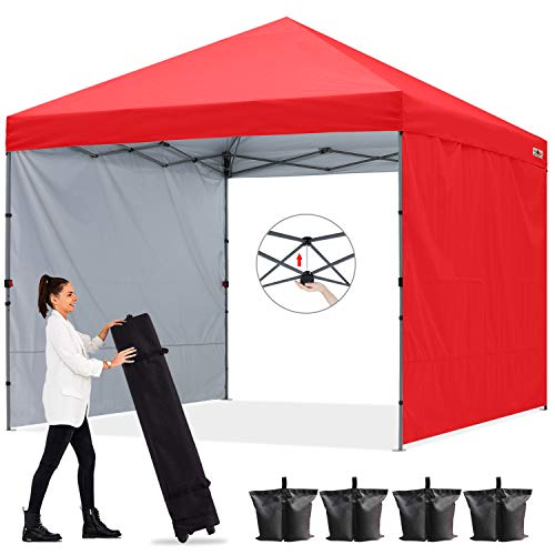 ABCCANOPY 2x2M Pavillon Outdoor Easy Pop-up-Überdachungszelt mit 2 Seitenwände,Central Lock-Serie,Rot