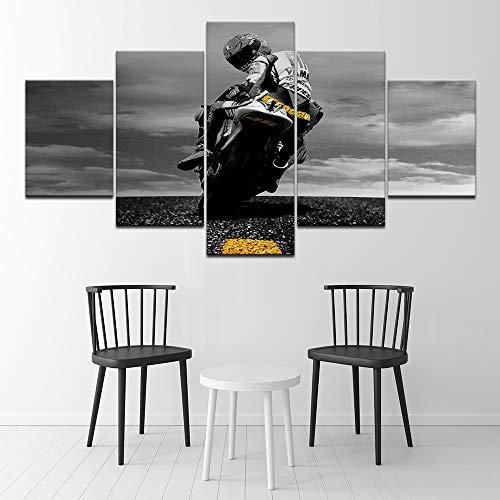 WJDJT - Lienzo de 5 piezas, impresión de pared moderna para colgar en la pared, decoración del hogar, diseño Hd Panel Motocicleta Carreras Lienzo impresión póster pared 200 x 100 cm, lona, 150x80cm