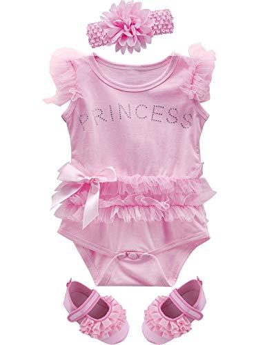 Mombebe Bambino Ragazze Principessa Vestito Neonata Estate Tutu Body con Fascia e Scarpe (Rosa 2, 3-6 Mesi)