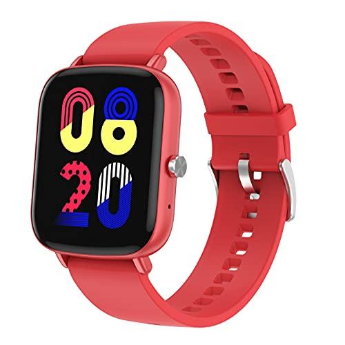 QFSLR Smartwatch Reloj Inteligente Deportivo con Llamada Bluetooth Monitor De Frecuencia Cardíaca Monitor De Presión Arterial Seguimiento del Sueño Podómetro,Rojo