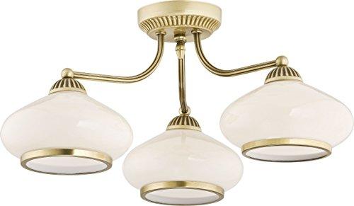 Deckenleuchte Weiß Glas Schirm Metall Messing Jugendstil bauchige Schirmform Ornament E27 3-flammig Deckenlampe Flur Wohnzimmerlampe