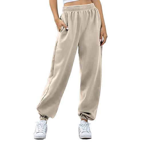 Women's Cinch Bottom Sweatpants Pockets High Waist Sporty Gym Athletic Fit Jogger Pants Lounge Trousers (Beige, Medium)