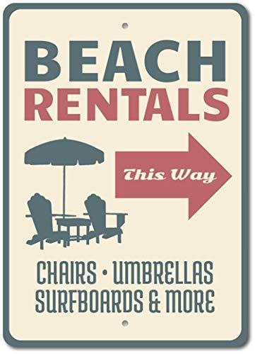 Placa de metal para alquiler de sillas de playa de Beach Rentals con letrero de flecha, 30 x 40 cm