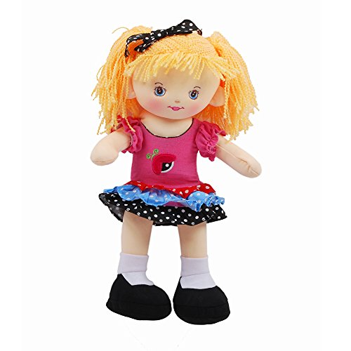 Linzy Christina Rag Doll with Colored Shirt and Polka Doted Skirt, Pink 16'